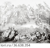Invasion of the Huns, painting by Wilhelm von Kaulbach (1805-1874... Редакционное фото, фотограф Jerónimo Alba / age Fotostock / Фотобанк Лори