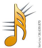 Musiknote mit stacheln auf weißem hintergrund - 3d illustration. Стоковое фото, фотограф Zoonar.com/jörg röse-oberreich / easy Fotostock / Фотобанк Лори