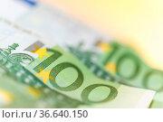 Euro money, Euro cash background. Banknotes of the european union... Стоковое фото, фотограф Zoonar.com/BASHTA / easy Fotostock / Фотобанк Лори