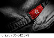 Tag on dark clothing in the form of the flag of the Hong Kong. Стоковое фото, фотограф Zoonar.com/BUTENKOV ALEKSEY / easy Fotostock / Фотобанк Лори