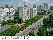 Москва, Хорошёвский район, вид сверху на Хорошёвское шоссе. Стоковое фото, фотограф glokaya_kuzdra / Фотобанк Лори
