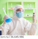 Chemist working in the lab on new experiment. Стоковое фото, фотограф Elnur / Фотобанк Лори