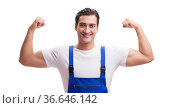 Handsome repairman wearing coveralls isolated on white. Стоковое фото, фотограф Elnur / Фотобанк Лори