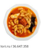 Asturian beans stew Fabada with pork, morcilla and chorizo. Стоковое фото, фотограф Яков Филимонов / Фотобанк Лори