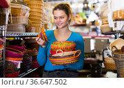 girl with multicolor wicker basket. Стоковое фото, фотограф Яков Филимонов / Фотобанк Лори