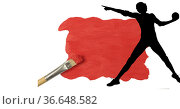 Silhouette of female handball player against red paint stain and paint brush on white background. Стоковое фото, агентство Wavebreak Media / Фотобанк Лори