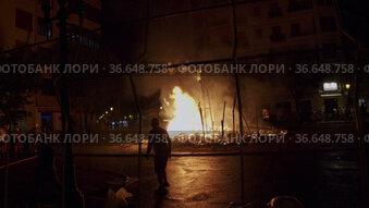 Final night of Las Fallas with ninot burning in big bonfire