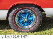 Grosse Pointe Shores, Michigan - The wheel of a 1969 AMC Hurst SC... Стоковое фото, фотограф Jim West / age Fotostock / Фотобанк Лори
