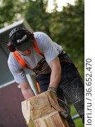 Mann sägt Figur aus Holzstamm. Стоковое фото, фотограф Zoonar.com/© Jens Schmitz / age Fotostock / Фотобанк Лори
