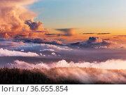 Foggy mountains in autumn season. Стоковое фото, фотограф Zoonar.com/Galyna Andrushko / easy Fotostock / Фотобанк Лори