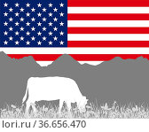 Kuh Alm und USA Fahne - Cow alp and flag of USA. Стоковое фото, фотограф Zoonar.com/lantapix / easy Fotostock / Фотобанк Лори