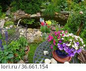 Gartenteich im Sommer, mit Gartenblumen, Стоковое фото, фотограф Zoonar.com/Bildagentur Geduldig / easy Fotostock / Фотобанк Лори