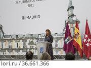THE DELEGATE OF TOURISM OF MADRID, ALMUDENA MAILLO IN CIBELES PALACE... Редакционное фото, фотограф Rafael De La Camara / age Fotostock / Фотобанк Лори