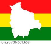 Karte und Fahne von Bolivien. Стоковое фото, фотограф Zoonar.com/Robert Biedermann / easy Fotostock / Фотобанк Лори