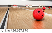 Bowling pins and red bowling ball standing on wooden surface. 3D illustration... Стоковое фото, фотограф Zoonar.com/Cigdem Simsek / easy Fotostock / Фотобанк Лори