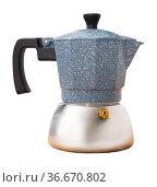 Coffee pot on table in kitchen. Стоковое фото, фотограф Яков Филимонов / Фотобанк Лори