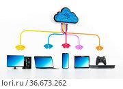 Cloud computing diagram with various connected device.3D illustration. Стоковое фото, фотограф Zoonar.com/Cigdem Simsek / easy Fotostock / Фотобанк Лори