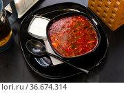 National dish of Russian cuisine is Solyanka soup. Стоковое фото, фотограф Яков Филимонов / Фотобанк Лори