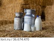 Milk in glass carafe, bottles and cans on hay. Стоковое фото, фотограф Яков Филимонов / Фотобанк Лори