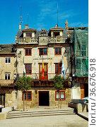 Facade of city hall, Lions House. Viveiro, Lugo province, Galicia... Стоковое фото, фотограф María Galán / age Fotostock / Фотобанк Лори