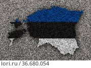 Karte und Fahne von Estland auf Mohn - Map and flag of Estonia on... Стоковое фото, фотограф Zoonar.com/lantapix / easy Fotostock / Фотобанк Лори