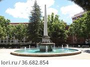 Fountain in the Paseo de San Gregorio, Puertollano, Ciudad Real, Spain. Стоковое фото, фотограф Luis Fidel Ayerves / age Fotostock / Фотобанк Лори