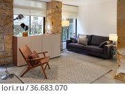 Armchair, Sofa and sideboard furniture, Living room, Interior decoration... Стоковое фото, фотограф Javier Larrea / age Fotostock / Фотобанк Лори