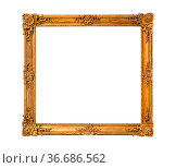 Old ornamental wooden picture frame with cut out canvas isolated on... Стоковое фото, фотограф Zoonar.com/Valery Voennyy / easy Fotostock / Фотобанк Лори