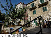 Makarska, Croatia, An old medieval square in the center of town. Стоковое фото, фотограф A. Farnsworth / age Fotostock / Фотобанк Лори