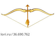 Cupid's bow and arrow with heart shape. 3D illustration. Стоковое фото, фотограф Zoonar.com/Cigdem Simsek / easy Fotostock / Фотобанк Лори