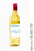 Sketch of bottle of white wine handpainted by watercolours on white... Стоковое фото, фотограф Zoonar.com/Valery Voennyy / easy Fotostock / Фотобанк Лори