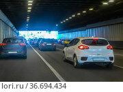 Car traffic in a tunnel. Стоковое фото, фотограф Юрий Бизгаймер / Фотобанк Лори