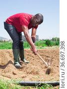 African american man professional horticulturist with garden shovel. Стоковое фото, фотограф Яков Филимонов / Фотобанк Лори