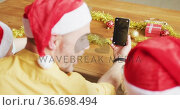 Rear view of father and two sons having a videocall on smartphone with copy space during christmas. Стоковое видео, агентство Wavebreak Media / Фотобанк Лори