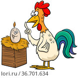 Cartoon illustration of rooster and egg farm animal characters. Стоковое фото, фотограф Zoonar.com/Igor Zakowski / easy Fotostock / Фотобанк Лори