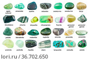 Collection of various green gemstones with names (chlorite, malachite... Стоковое фото, фотограф Zoonar.com/Valery Voennyy / easy Fotostock / Фотобанк Лори