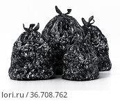 Trash bag isolated on white background. 3D illustration. Стоковое фото, фотограф Zoonar.com/Cigdem Simsek / easy Fotostock / Фотобанк Лори