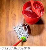 Point of view of rope mop near bucket with water on wooden laminate... Стоковое фото, фотограф Zoonar.com/Valery Voennyy / easy Fotostock / Фотобанк Лори