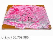Painting without frame with pink and silver acrylic image decorated... Стоковое фото, фотограф Zoonar.com/Valery Voennyy / easy Fotostock / Фотобанк Лори