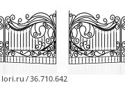 Wrought iron gate isolated on white background. 3D illustration. Стоковое фото, фотограф Zoonar.com/Cigdem Simsek / easy Fotostock / Фотобанк Лори