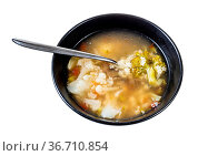 Soup with stelline (italian pasta) and vegetables (cauliflower, broccoli... Стоковое фото, фотограф Zoonar.com/Valery Voennyy / easy Fotostock / Фотобанк Лори