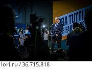 The candidate Mayor of Rome for center left Roberto Gualtieri comments... Редакционное фото, фотограф Alessandro Serrano' / AGF/Alessandro Serrano' / / age Fotostock / Фотобанк Лори