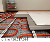 Ground heating system structural detail. 3D illustration. Стоковое фото, фотограф Zoonar.com/Cigdem Simsek / easy Fotostock / Фотобанк Лори