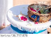 Wedding in cyprus, bride and groom on a stone bridge in Agia Napa... Стоковое фото, фотограф Zoonar.com/Konstantin Malkov / easy Fotostock / Фотобанк Лори