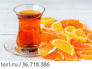 Orange fruit marmalade jelly close up view. Стоковое фото, фотограф Zoonar.com/Photographer: Andrey N.Cherkasov / easy Fotostock / Фотобанк Лори
