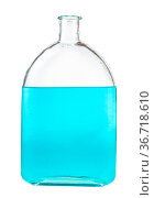 Blue ink solution in water in glass flask isolated on white background. Стоковое фото, фотограф Zoonar.com/Valery Voennyy / easy Fotostock / Фотобанк Лори