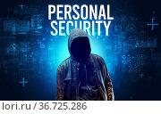 Faceless man with PERSONAL SECURITY inscription, online security concept... Стоковое фото, фотограф Zoonar.com/ranczandras / easy Fotostock / Фотобанк Лори