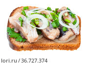 Open sandwich salted herring and onion isolated on white background. Стоковое фото, фотограф Zoonar.com/Valery Voennyy / easy Fotostock / Фотобанк Лори