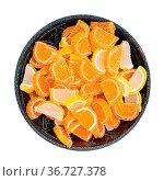 Top view of sweet sugar lemon and orange marmalade slices in ceramic... Стоковое фото, фотограф Zoonar.com/Valery Voennyy / easy Fotostock / Фотобанк Лори