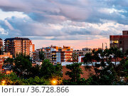 Residential District in Madrid. Arturo Soria Street in Ciudad Lineal... Стоковое фото, фотограф Zoonar.com/@jjfarquitectos / age Fotostock / Фотобанк Лори